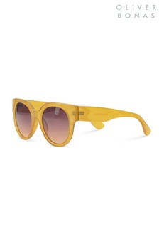 Oliver Bonas Yellow Preppy Round Sunglasses
