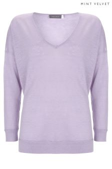 Mint Velvet Purple V-Neck Raw Seam Detail Boxy Knit Jumper