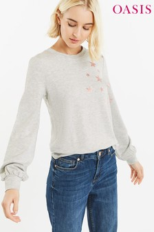 Oasis Grey Star Placement Sweater