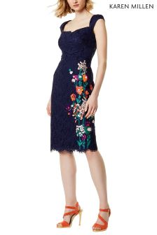 Karen Millen Blue Bouquet Floral On Lace Dress