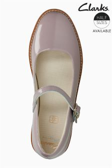 Clarks Pink Leather Patent Drew Sky Mary Jane Junior Shoe