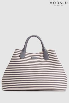 Modalu Grey Stripe Lexi Large Shoulder Bag