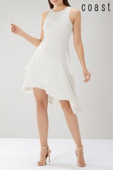 Coast White Kate Soft Asymmetric Dress