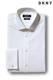 Белая приталенная эластичная рубашка с двойными манжетами DKNY