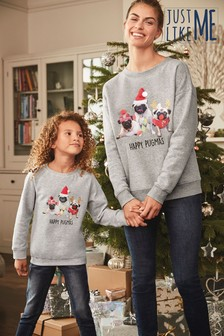 Kids Matching Family Pugmas Sweatshirt (3-16yrs)