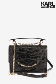 Karl Lagerfeld Black Seven Top Handle Croc Bag