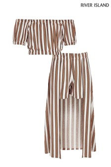 River Island Mustard Stripe Bardot Skirt Set