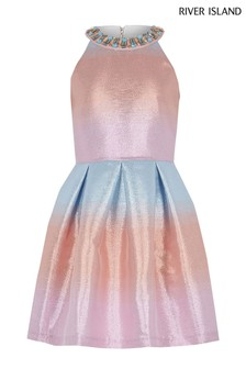 River Island Pink Ombre Prom Dress
