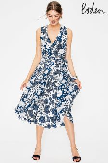 Boden Blue Allyson Silk Wrap Dress