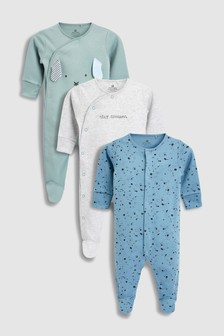 Dog And Splatter Print Sleepsuits Three Pack (0mths-2yrs)