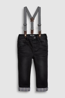 Braced Check Turn-Up Jeans (3mths-7yrs)