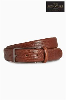Signature Italian Leather Textured Belt