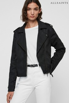 AllSaints Black Waxed Micah Biker Jacket