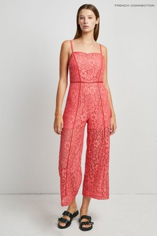 French Connection Pink Helenie Lace Culotte Jumpsuit
