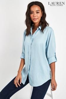 Lauren Ralph Lauren Blue Linen Shirt