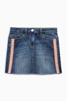 Джинсовая юбка с боковыми полосками (3-16 лет)