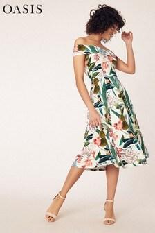 Oasis Natural Tropic Bardot Midi Dress