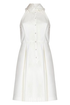Adrianna Papell Ivory Button Up Halter Dress