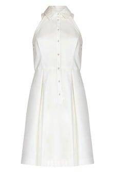 Adrianna Papell Ivory Button Up Halter Dress