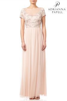 Adrianna Papell Blush Cap Sleeve Beaded Tulle Evening Dress