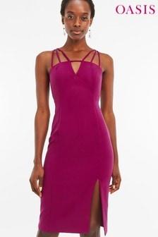 Oasis Pink Strappy Midi Dress