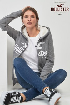 Hollister Grey Sherpa Lined Logo Hoody