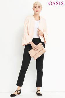 Oasis Black Compact Cotton Trouser