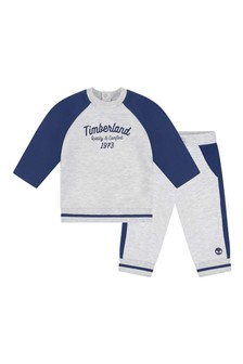 Baby Boys Grey Cotton Tracksuit