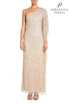 Adrianna Papell Cream Plus Long Beaded Dress
