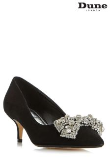 Dune Bowpeep Black Embellished Bow Court Shoe