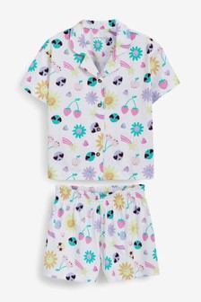 Cotton Jersey Button Through Short Pyjamas (2-16yrs)