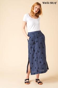 White Stuff Blue Roller Linen Maxi Skirt
