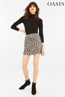 Oasis Animal Faux Suede Leopard Skirt