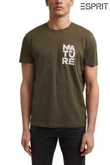 Esprit Green T-Shirt With Print In Organic Cotton