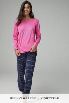 Star Print Pyjamas with Ribbon Wrapping