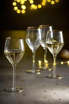 Set of 4 Gold Effect Wine Glasses