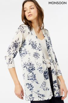 Monsoon Cream Daria Print Linen Blend Cardigan