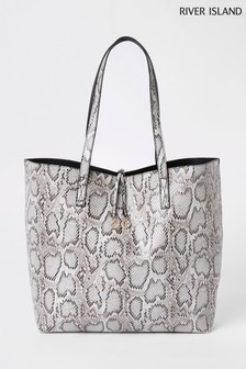 River Island Grey Snake Beach Bag