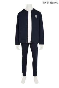 River Island Navy Teen Hoodie, T-Shirt And Joggers 3 Piece Set