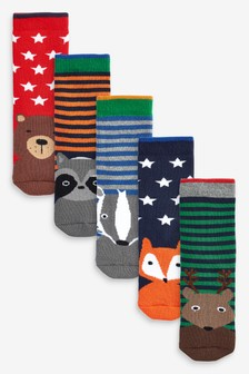 5 Pack Cotton Rich Full Terry Woodland Animal Socks (Younger)