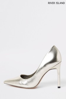 River Island Gold Skinny Heel Court