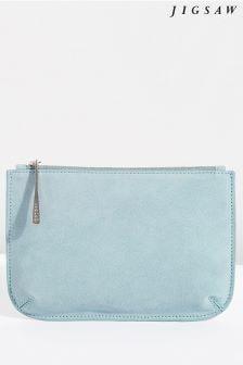Jigsaw Blue Alba Medium Leather Pouch