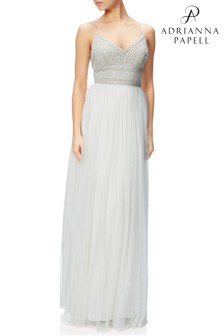 Adrianna Papell White Sleeveless Bead Bodice Gown