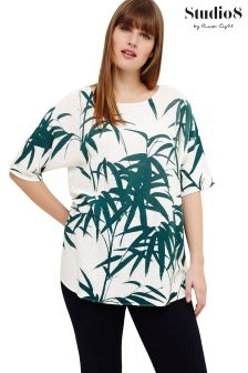 Studio 8 Green Saz Palm Print Jumper