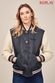 Replay® Black Shearling Sleeve Varsity Jacket