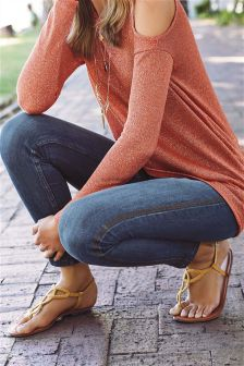 Embroidered Side Stripe Straight Jeans