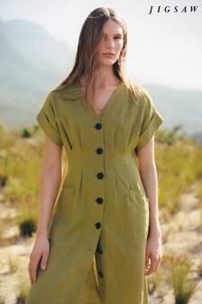 Jigsaw Green Linen Button Through Dress