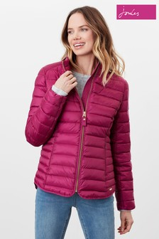 Joules Purple Canterbury Short Luxe Quilted Coat