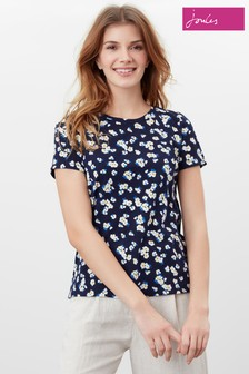 Joules Blue Carley Print Classic Crew T-Shirt
