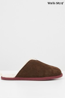 White Stuff Suede Shearling Mules